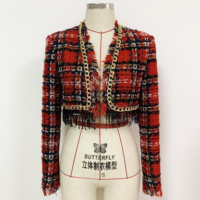 Autunno / Inverno 2021 Catena in metallo Tassel Paillettes Fringe Plaid Tweed Giacca corta Cappotto O114 Giacche da donna