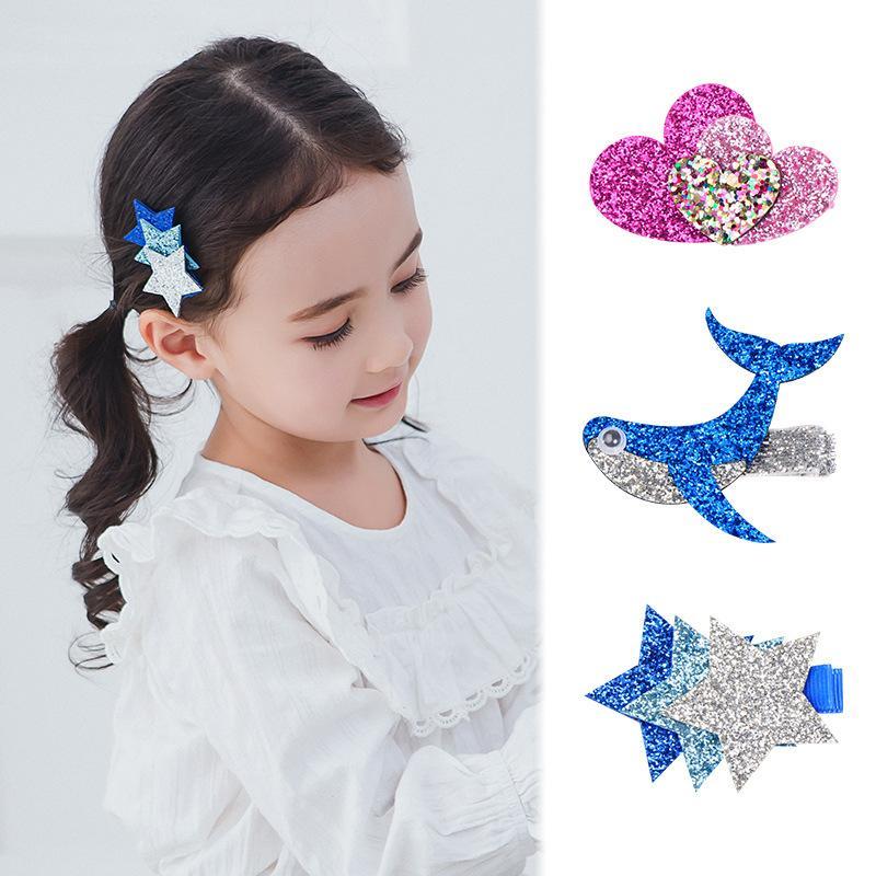 Free DHL MQSP Baby Girl Toddler Sequin Cartoon Hairpin Fashion Sweet Hair Accessories Kid Princess Kawaii Mini Barrettes Hairclip Party Supplies Child