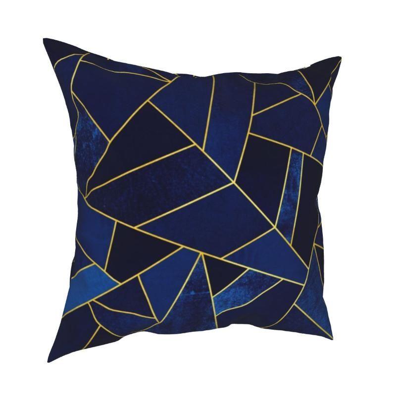 Kissen / Dekoratives Kissen blau Stein Gold Linien Kissenbezüge Bett Auto Abstract Geo Modern Mosaik Kissenbezug Home Decoration Kissenbezug 45 * 4