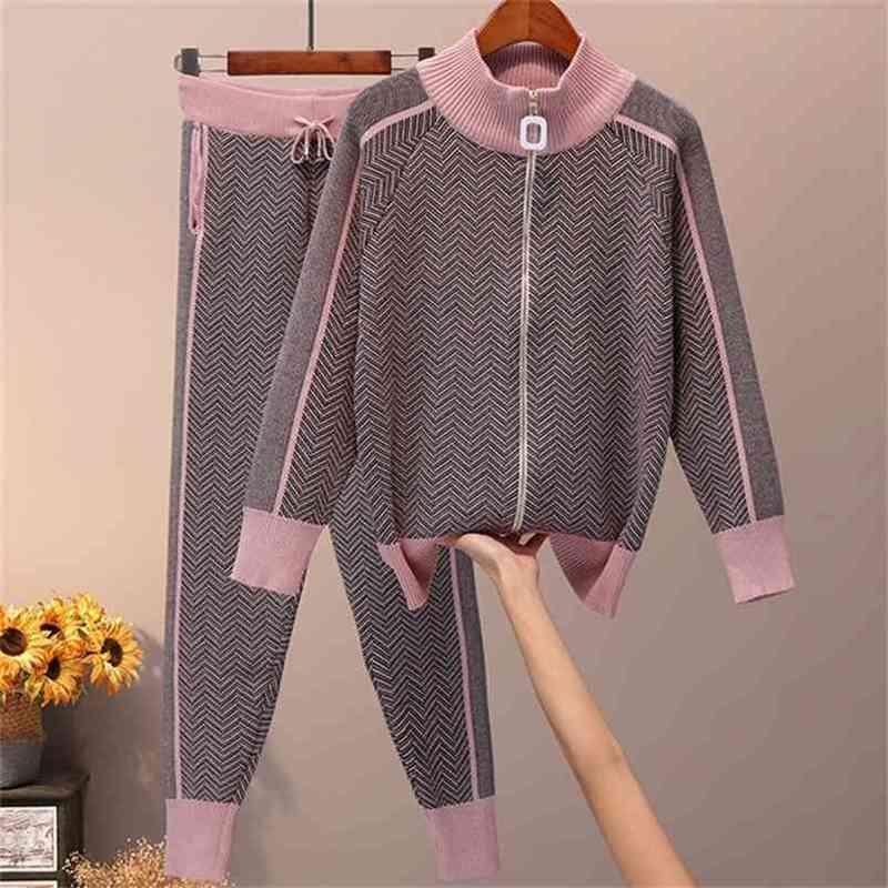 Le donne a maglia con zip jumper Top + Pantaloni Set da donna Pantaloni per maglioni a righe donna 2pcs Abiti 210603