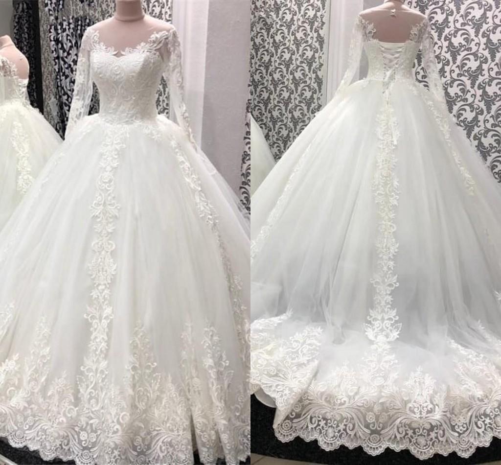 Abiti da sposa maniche lunghe Abiti da sposa Abito da sposa 2021 Pizzo Applique Sweep Train Corsetto Indietro Scoop Neck Custom Made Vestidos de Novia