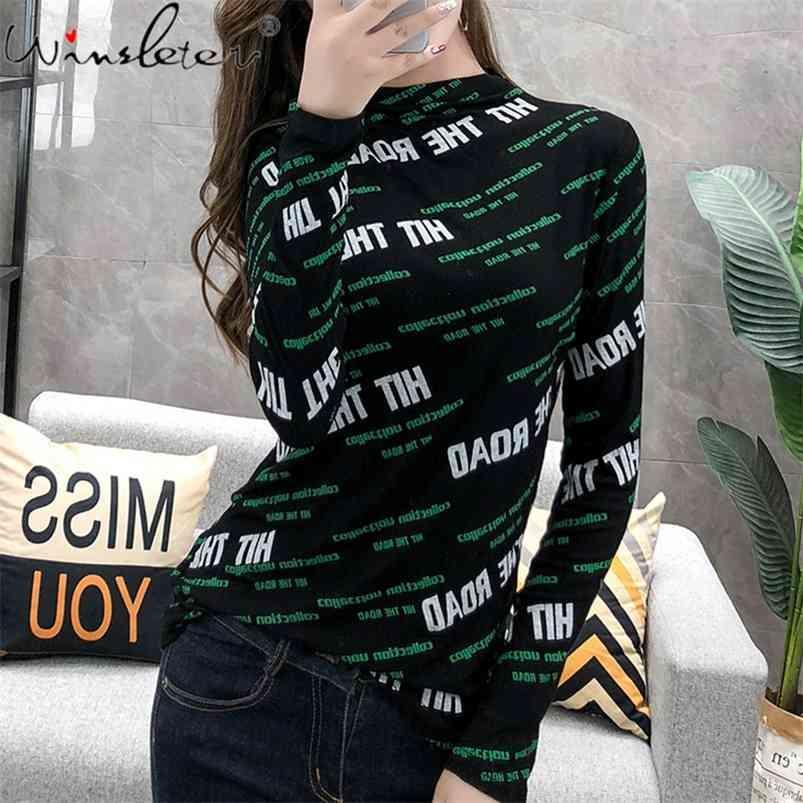 Kadın T Gömlek Mektup Baskı Pamuk Uzun Kollu Ince Bayanlar Balıkçı Yaka T-Shirt Bahar / Sonbahar Varış Kadın Tshirt T07622B 210421