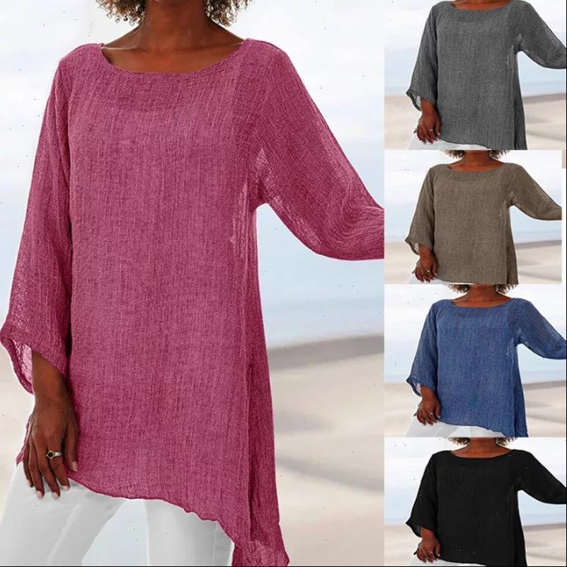 Long Sleeve Women Womens Blouses Blouse Plus Size Solid Balck Shirt Casual O Neck Retro Thin Female Tunic Cotton Linen