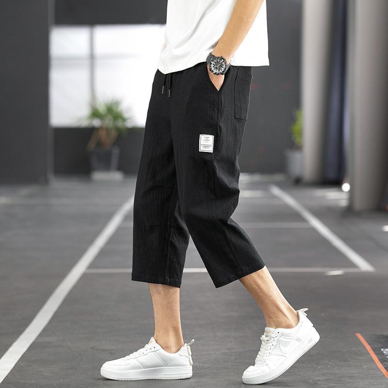 Perth Casual Hombres Piernas delgadas delgadas Coreana Capris Summer Student Pantalones deportivos