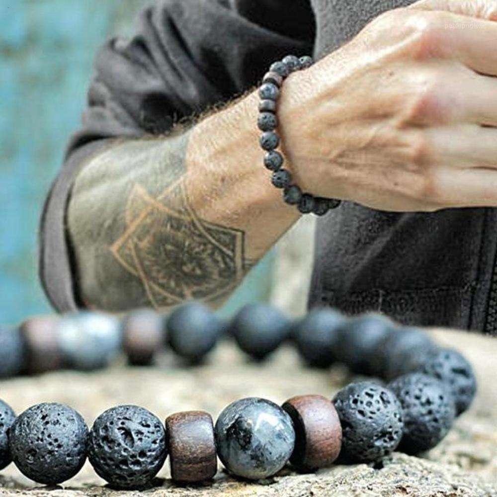 Pulsera de piedra de McLLROY / Beads / Lava / Natural / Homme / Moda / Brazaletes Pulsera Hombres Bead de madera Accesorio Joyería Hombre Valentine Gift1
