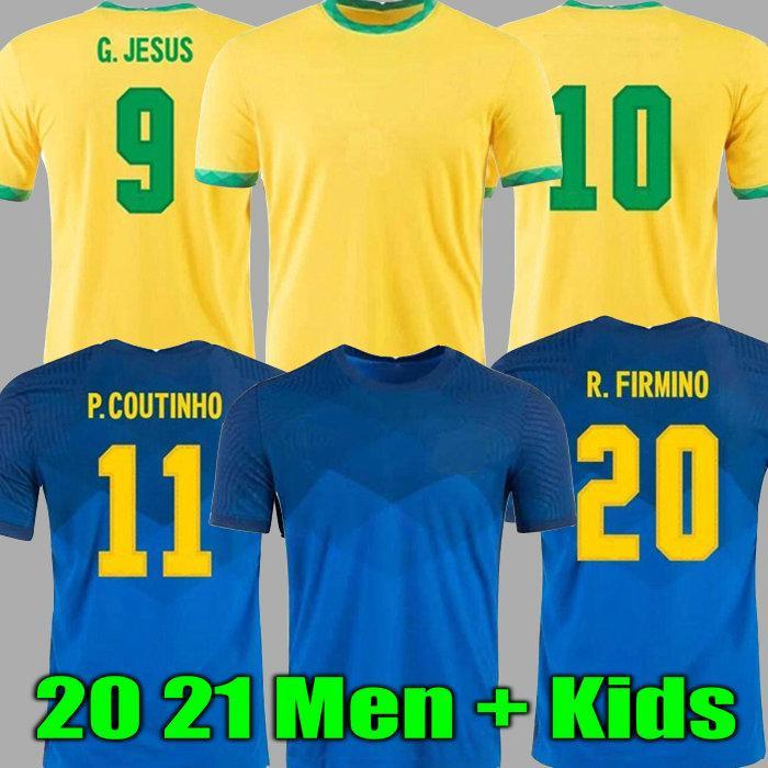2021 Camiseta de Futbol Paqueta Neres Coutinho 축구 셔츠 예수님의 Firmino 축구 유니폼 Marcelo 21 Maillot de Foot Brasil