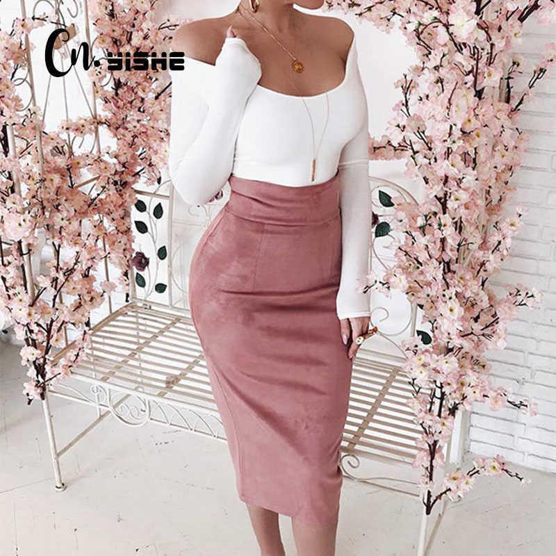 Cnyishe Midi Hohe Taille Wildleder Bleistift Röcke Frauen Herbst Mode Bodycon Sexy Slim Rock Regional Büro Dame Bottoms 210607