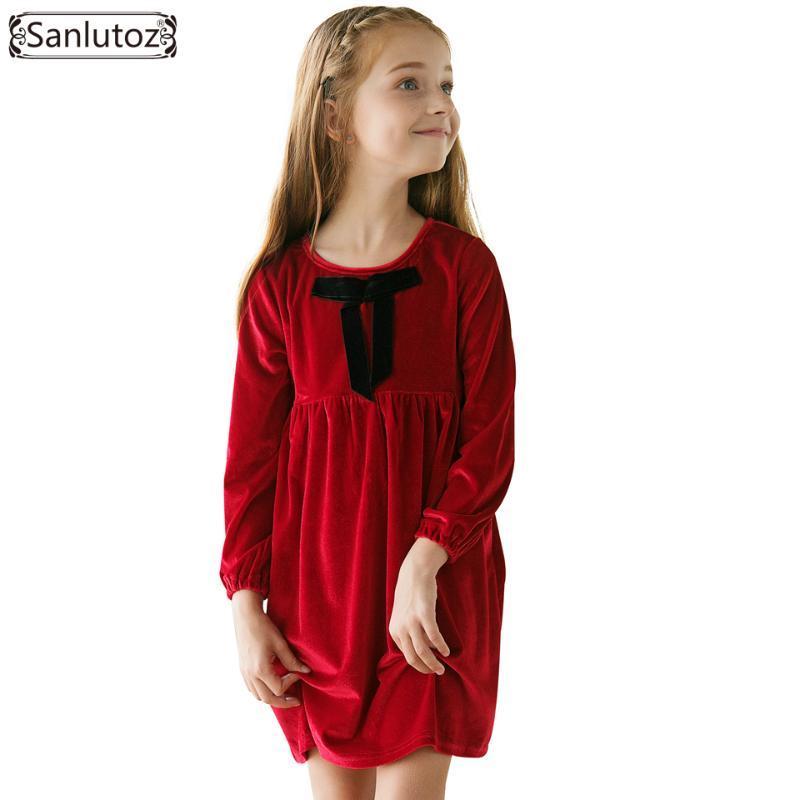 Vestidos de niña Vestido de invierno para niña de invierno Arco Ropa para niños Cálido Niños Niños Marca 2021 Red Christmas Disfraz Fiesta Boda