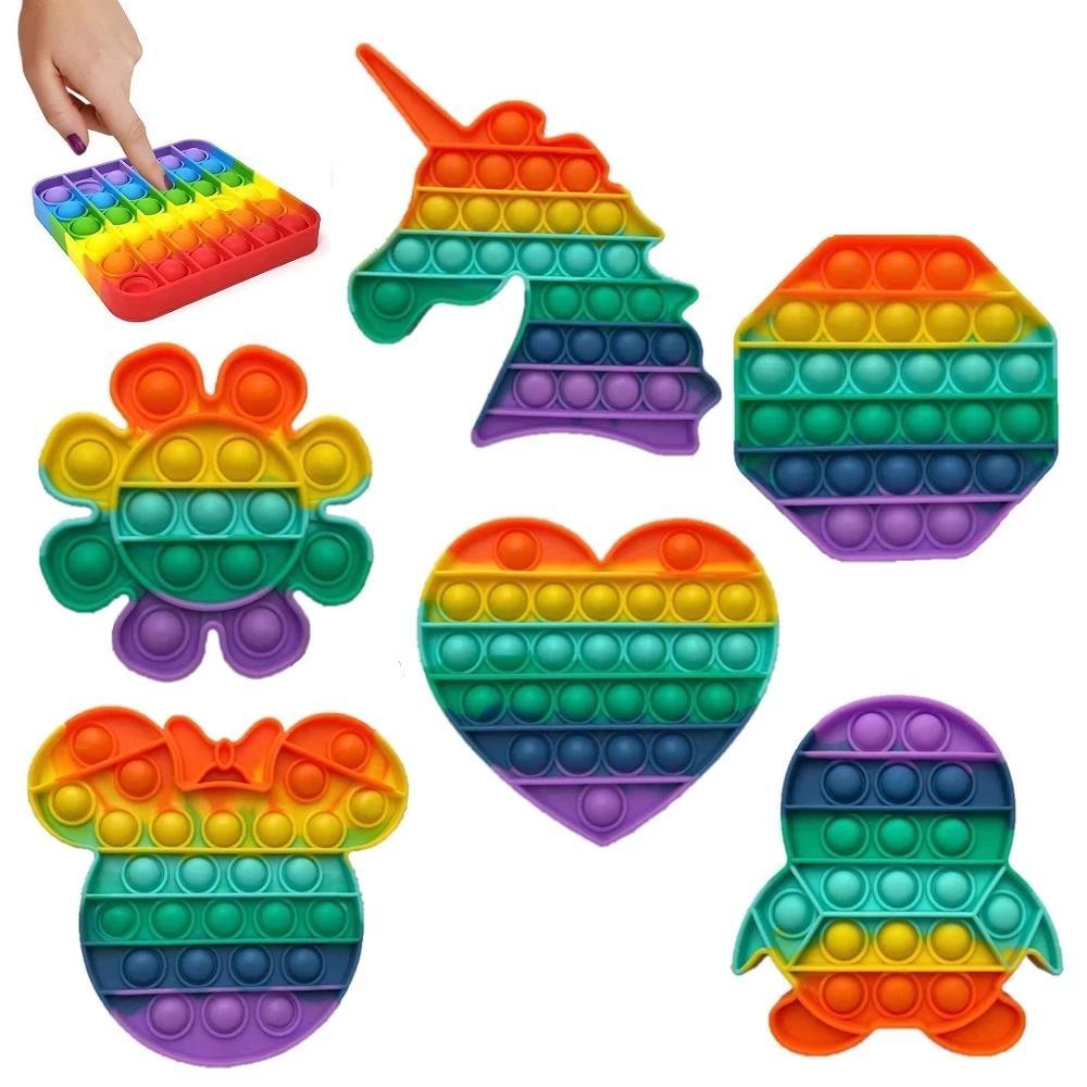 دفع فقاعة تململ الحسية لعبة it rainbow تململ لعبة photo fidget لعبة فقاعة الإجهاد المكنة التوحد الكبار الاطفال دروبشيبينغ