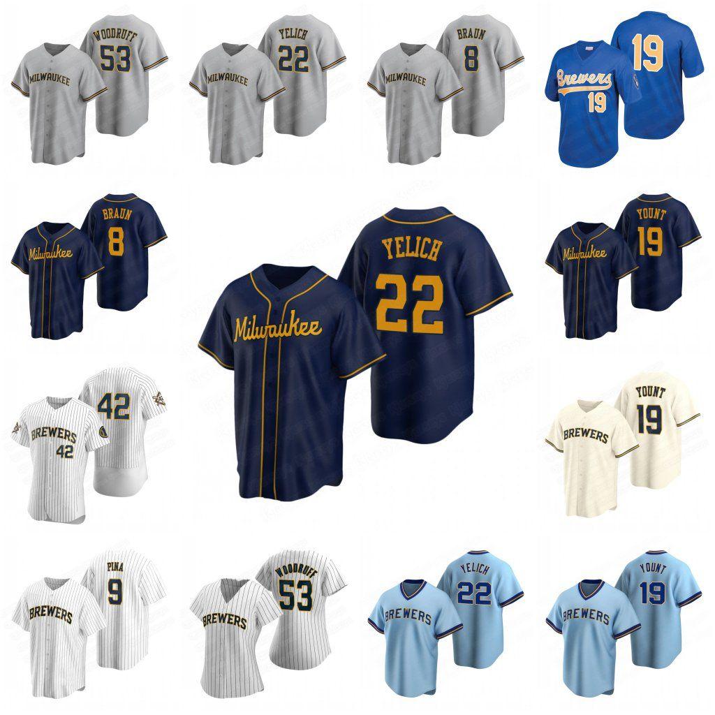 Milwaukee 53 Brandon Woodruff Brewers Jerseys 22 Christian Yelich 8 Ryan Braun 12 Justin Smoak 6 Lorenzo Robin Yount Cain Keston Hiura 57 Eric Yardley 39 queima-se Jersey