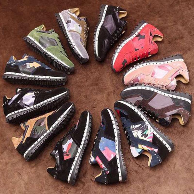 2021 Homens Rockrunner Camuflagem Sapatos Moda Luxurys Designers Mulheres Sneaker Genuine Leather Flats Treinadores Casuais Tamanho 35-45