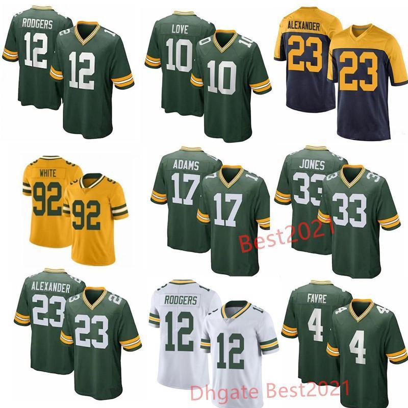Mens Football Jersey 12 Aaron Rodgers 33 Jones 17 Davante Adams 26 Darnell Savage jerseys 21 Eric Stokes Alexander Smith love Stitched Jerse