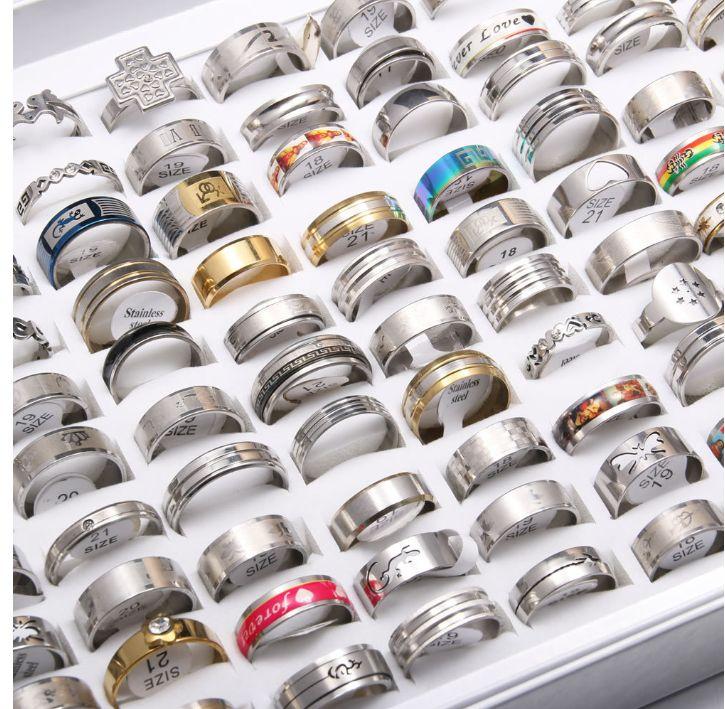 50 قطع مزيج الفضة الأسود الذهبي الفولاذ المقاوم للصدأ أزياء رجالي المرأة مجوهرات الدائري حفل زفاف هدية r wmtmyp new_dhbest