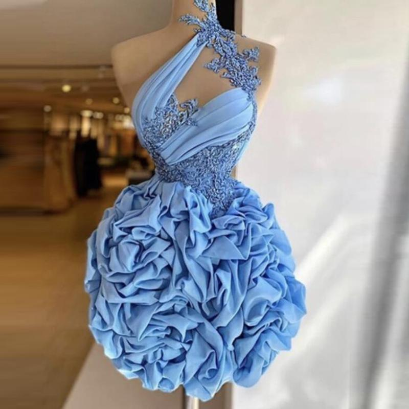 Baby Blue Short Prom Dresses High Neck Sheer Neckline Lace Appliques Cocktail Party Dress Pick Ups Mini Evening Gowns Sleeveless Sexy Back