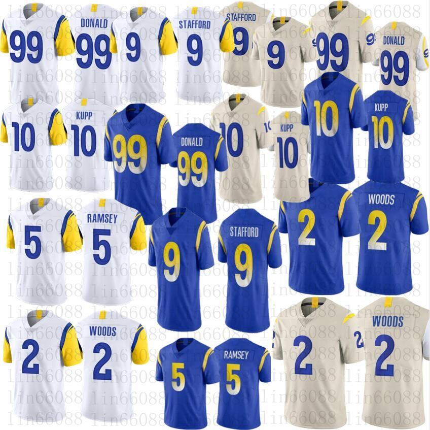 2021 Homens Mulheres Juventude 99 Aaron Donald Football 9 Matthew Stafford 20 Jalen Ramsey 10 Cooper Kupp 2 Robert Woods Jerseys