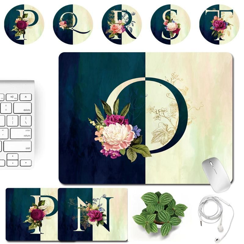 Mouse Pads & Wrist Rests Gaming Pad Small Durable Mousepad PU Leather 26 Letter Patterns Print Series Anti-slip Computer Office Desk Accesso