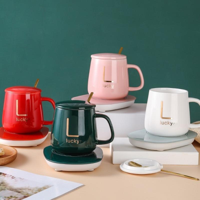 세라믹 절연 찻잔 55도 서모 스탯 컵 하이 엔드 선물 상자 난방 우유 비즈니스 사무실 커피 머그잔