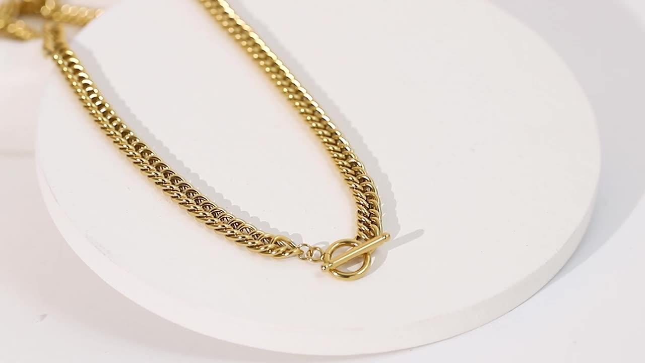 6.7mm Calça cubana colar de titânio gargantilha de aço curto homens mulheres grossas 14k banhado a ouro colar de aço inoxidável