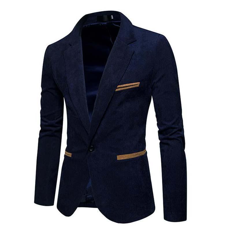 Men's Suits & Blazers Casual Mens Blazer Single Button Corduroy 2021 Brand Men Dress Slim Jacket Terno Masculino Plus Size Clothing