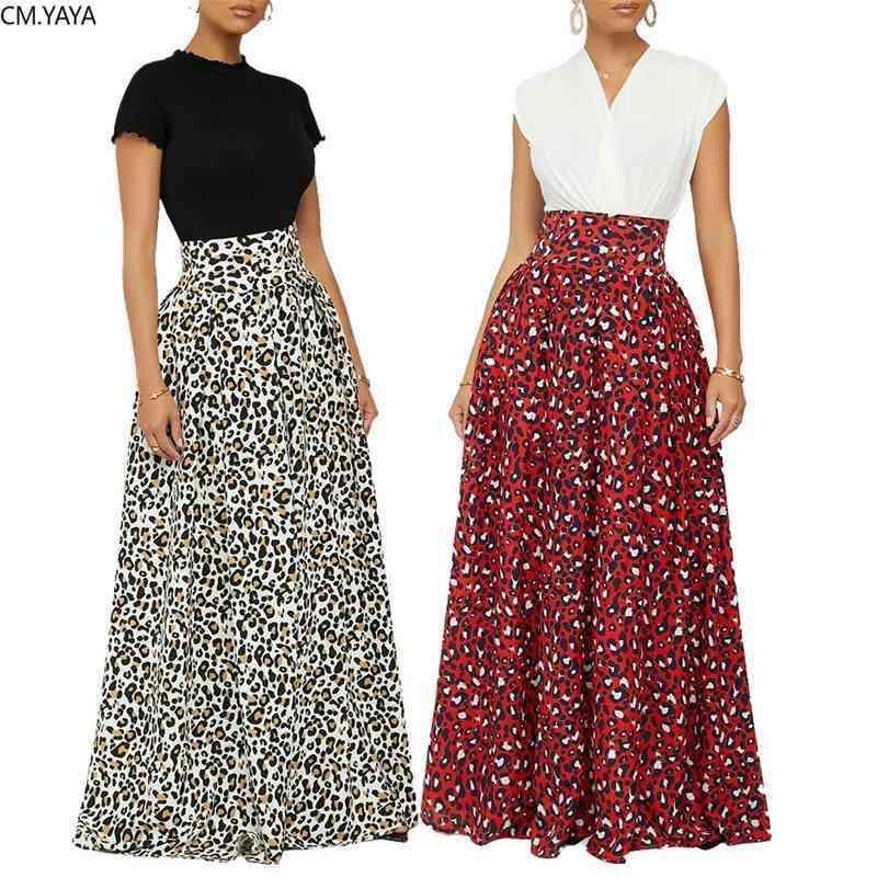 Cm.yaya mujeres leopardo impresión alta cintura mujer vintage piso longitud faldas noche playa playa maxi falda larga 210331