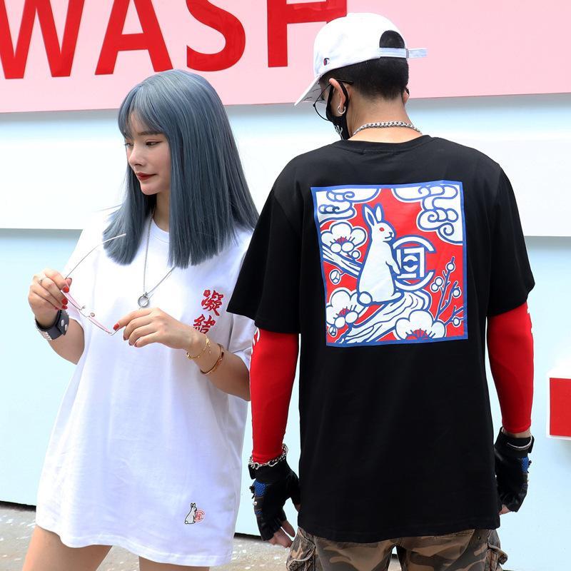 Marka erkek Yaz Ins Net Kırmızı FR2 Tavşan Baskı Kısa Kollu Yuvarlak Boyun Pamuklu T-Shirt Ve Bayan Modası
