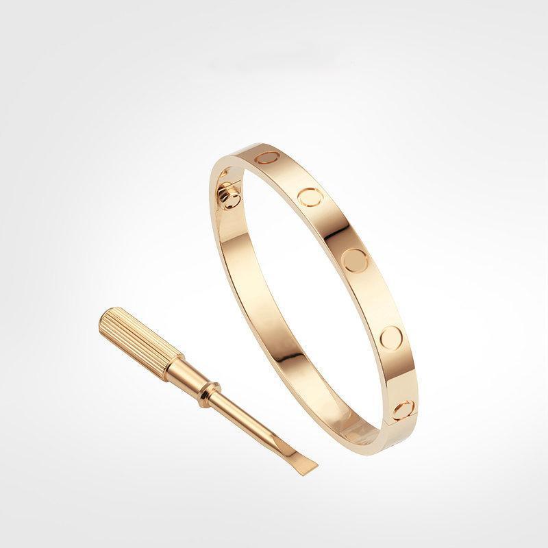 Nessuna scatola 15-21 cm Braccialetti di Braccialetti Titanium per amante Braccialetto di nozze del braccialetto del braccialetto del braccialetto della rosa dell'amante Braccialetto del Giorno del Ringraziamento del Ringraziamento
