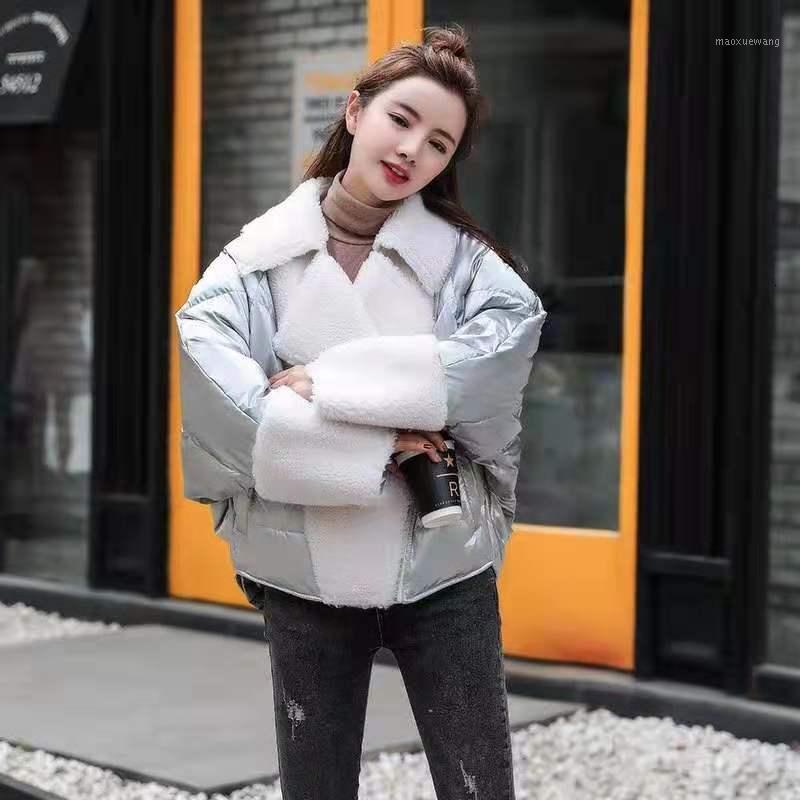 90% white duck down jacket bat sleeve winter coat women 2019 turn-down collar outerwear patchwork style plus size coats1