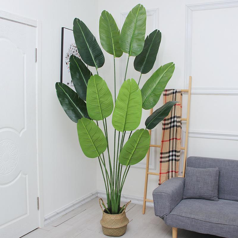 اكليل الزهور الزخرفية 220 سنتيمتر سوبر كبير شجرة الموز الاصطناعي فرع الأخضر النظارات النادرة الاستوائية البلاستيك داخلي كبير بوعاء المنزل