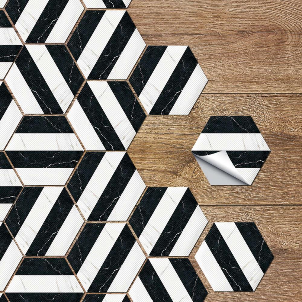 Adesivos de janela Ristant desgaste preto e pvc Antiskid branco azulejo listrado, quarto auto-adhive decorativo chão hexagonal à prova d'água