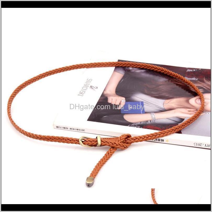 Cinturones para mujer Decoración Slim Hecho a mano Metal Detail Detwle Doudy PU Cinturón de cuero S557 3E5IP E4GJJ