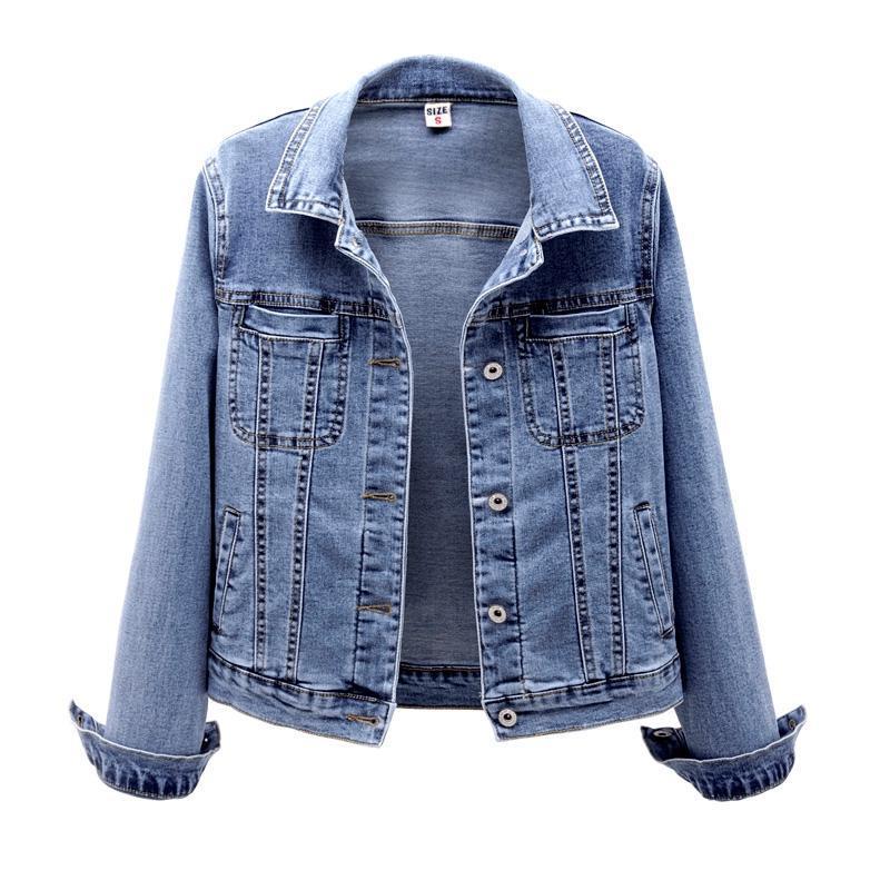 Women's Jackets Harajuku Denim Short Jacket 2021 Women Spring Autumn Slim Single-breasted Vintage Jeans Wild Student Basic Coat