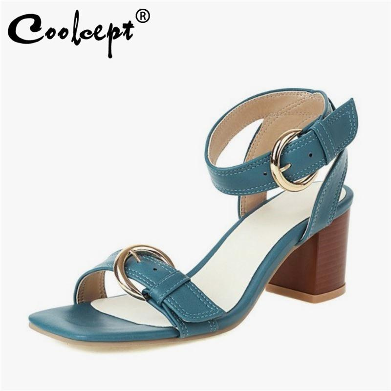 Coolcept frauen schuhe dicke high heel square zehe büro sandalen für klassische metall schnalle mode schuhe größe 33-43