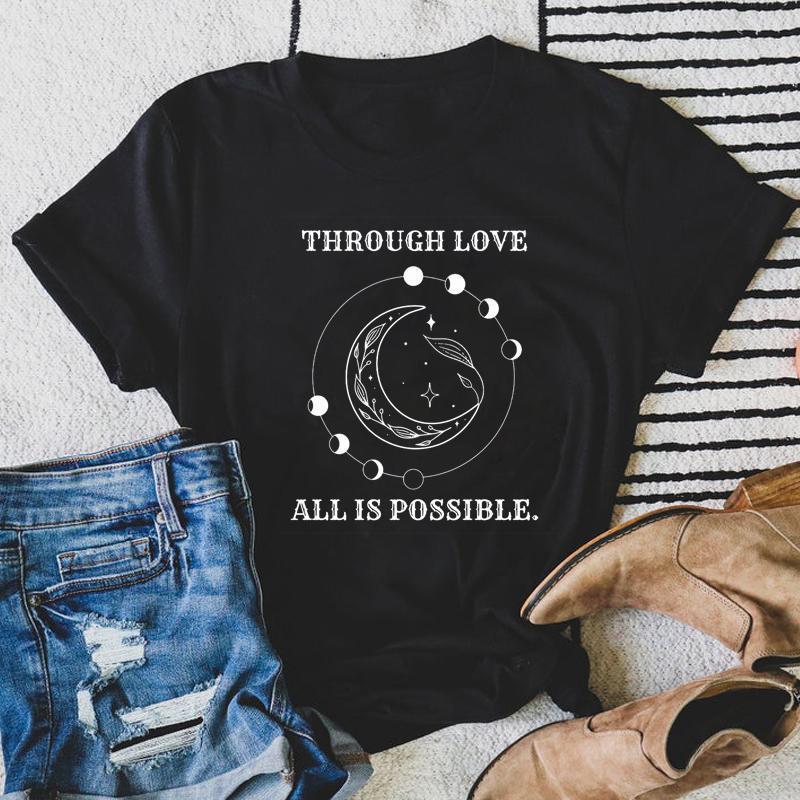 Aşk sayesinde tüm olası T-shirt estetik göksel ay evreler astroloji tshirt vintage kadın Hristiyan sevilen top tee kadınlar