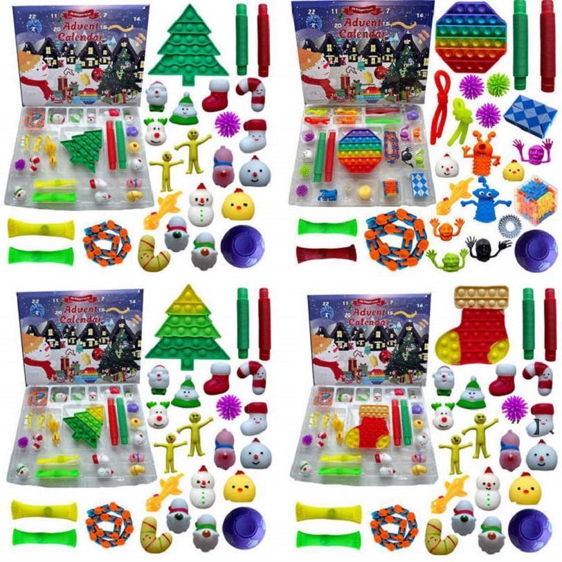 24pcs conjunto de Navidad Fidget Juguete Cuenta regresiva Cuenta regresiva Calendario Cajas de ciegas Sensory Pack Adviento Calendario Caja de Navidad Seaway HHF9912