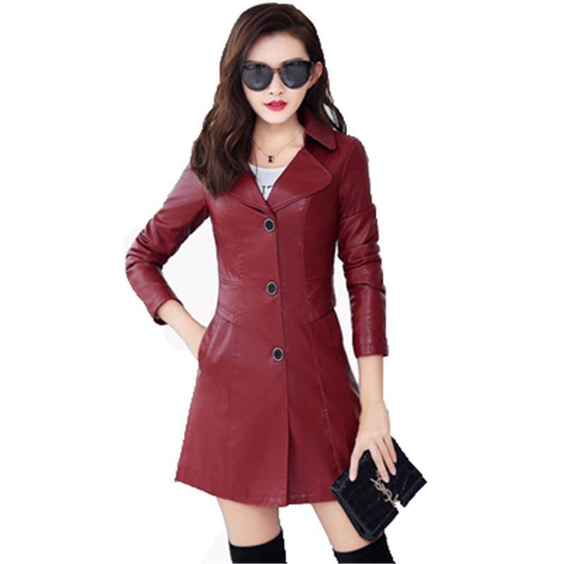 Gefälschte Lederjacke Frauen Wein Rot Schwarz Top 2021 Frühling Herbst Koreanische Version Plus Größe 5XL Mode PU Mantel GH249 Damen Faux