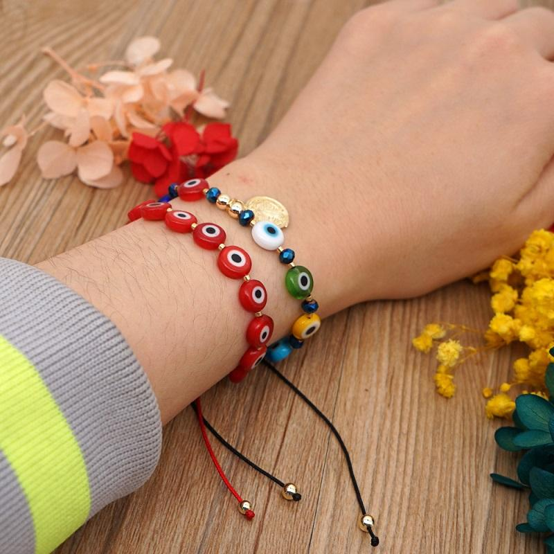 Vintage Turkish Evil Eye Charm Bracelet Couple Beads Coin Pendant Bracelets Pulseras Adjustable Lucky Bangle Bohemian Friendship Retro Jewelry Accessories Gift