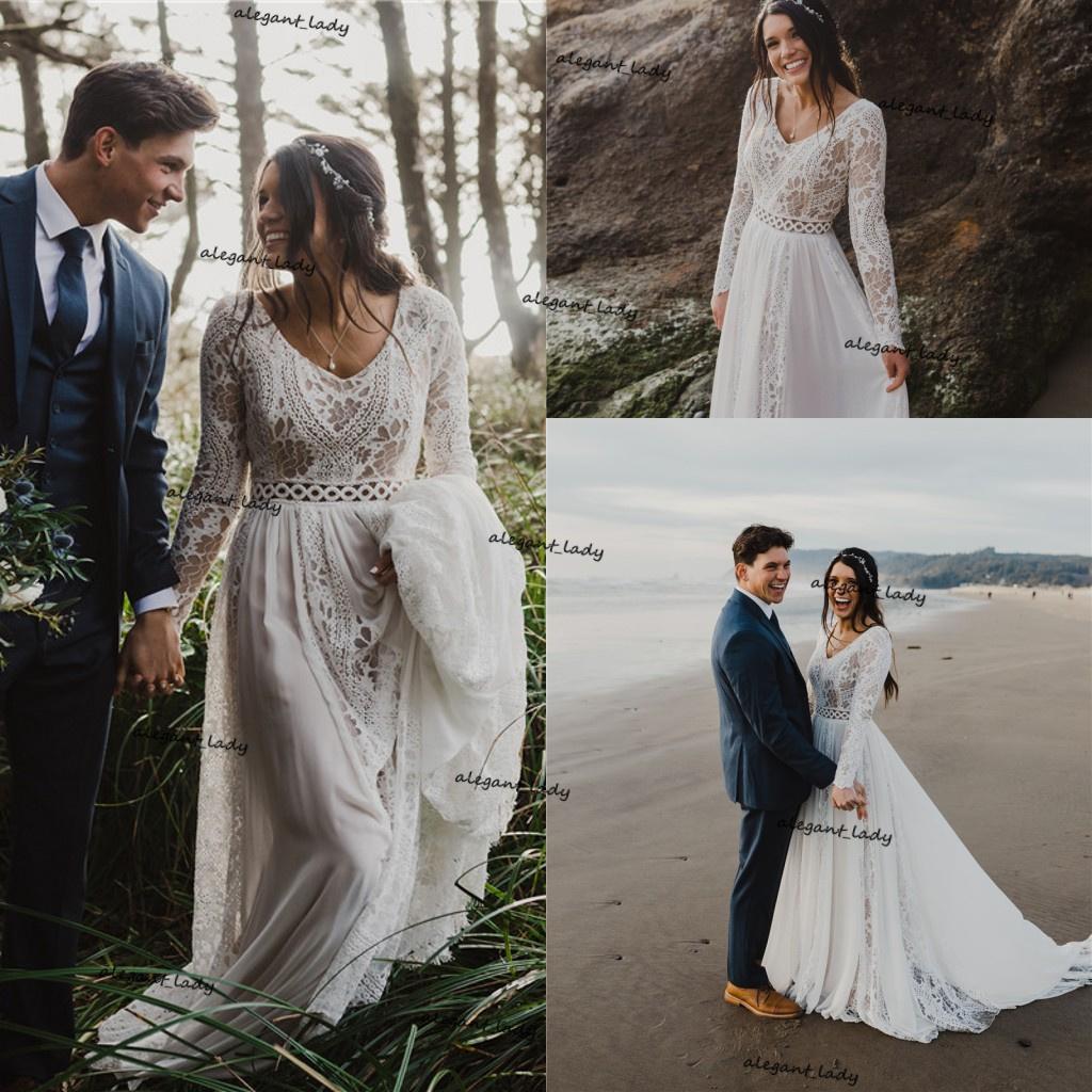 Boho Wedding Dresses for Bride Long Sleeve Lace Chiffon Beach country Bridal Gowns for Women Vestido De Noiva Robe De Mariee