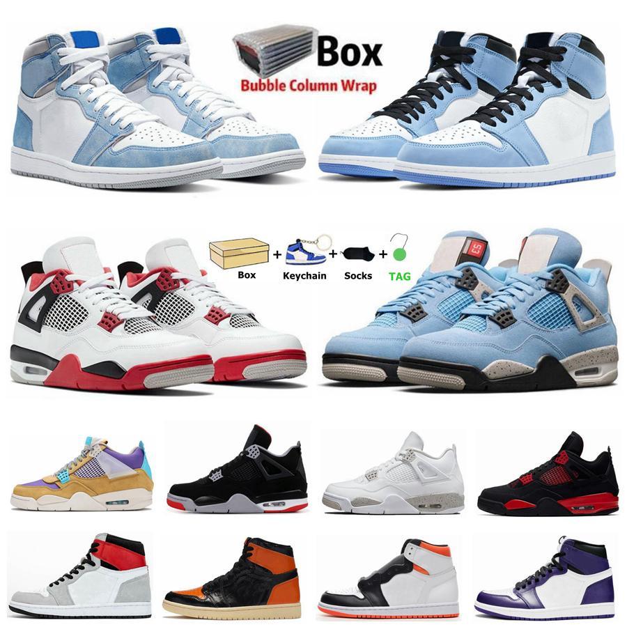 Университет Blue 1S Jumpman 1 Мужская баскетбольная обувь Черный кот 4 4S HYPE Royal Pine Green ObsiDian Unc Соблюдайте о том, что белое цементное заводят спортивные женские кроссовки