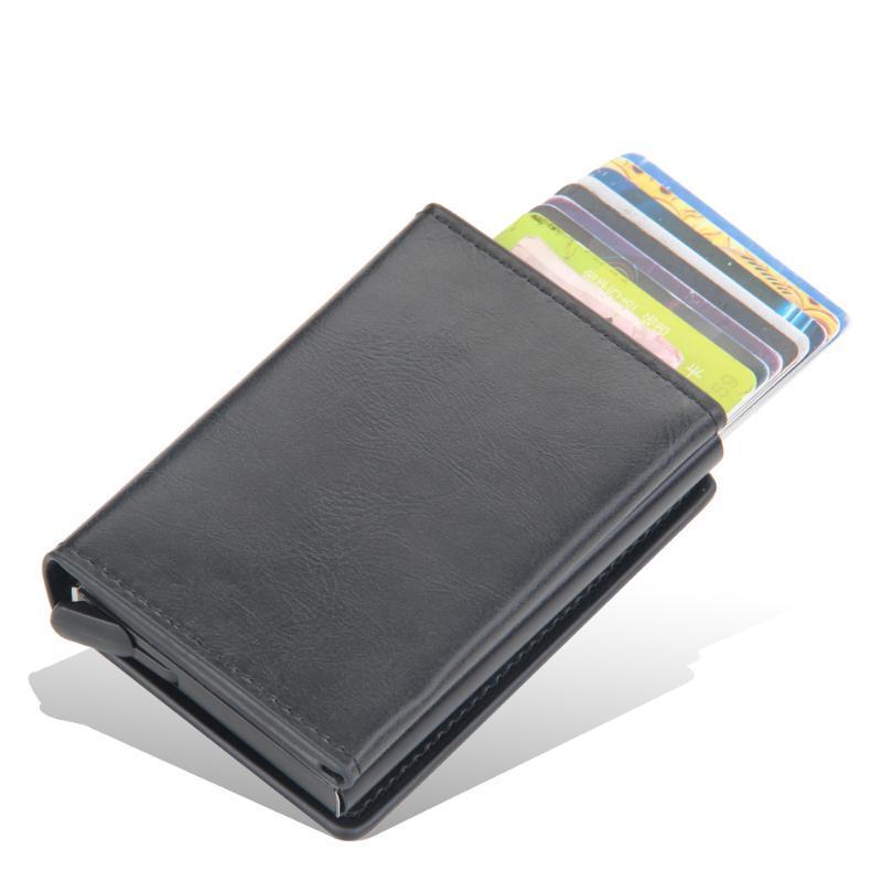 CARTÕES DE CARTÃO 2021 RFID Holder Carteira Homens Mulheres Sólida Couro de Alumínio Aparece automaticamente o titular do cartão com botão magnético