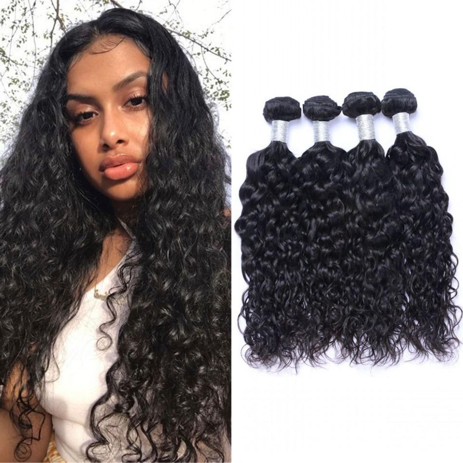 Curly Indian Weave Bundles Human Hair 8-26 Inch Natural Color Water Wave Bundle 3/4 Pieces Non Remy Extensions
