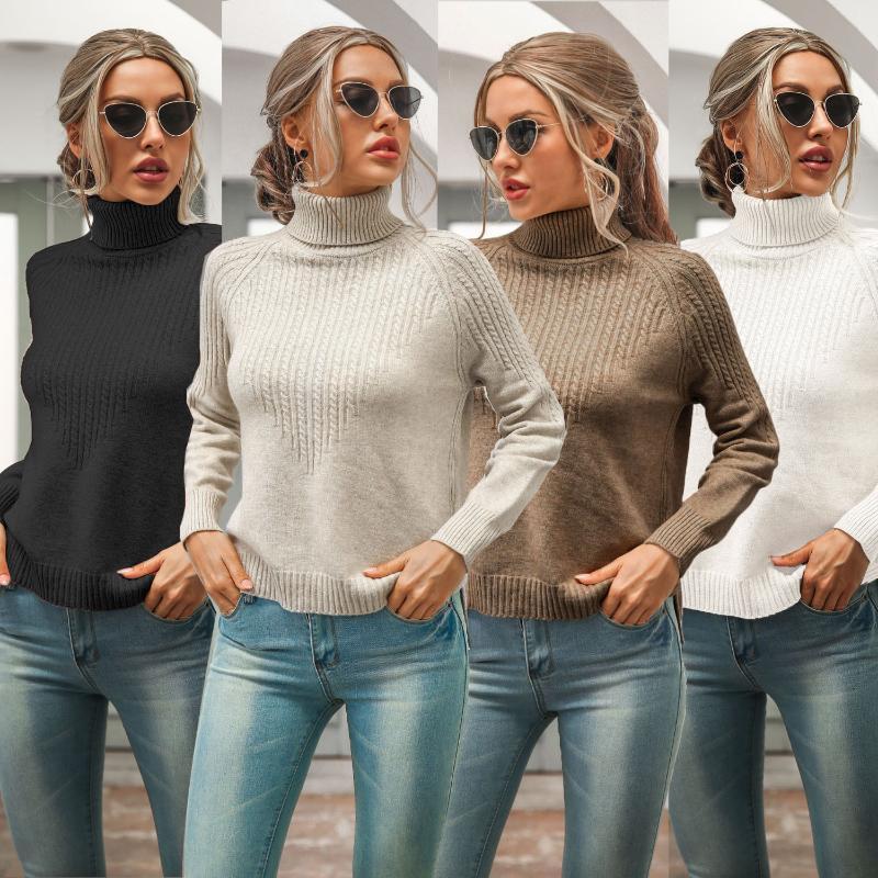 Зимний женский свитер стрит одежды мода повседневная элегантная сплошная с длинным рукавом водолазки плотные тонкие свитера