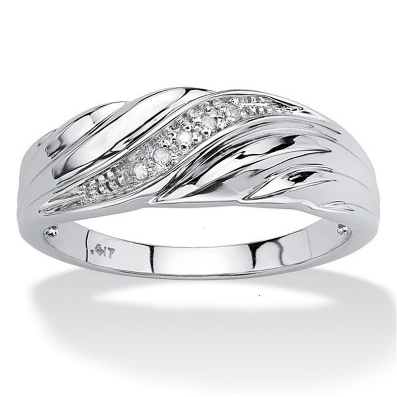 Anel Weixu Creative Twist Pattern incrustado Diamond S para homens e mulheres