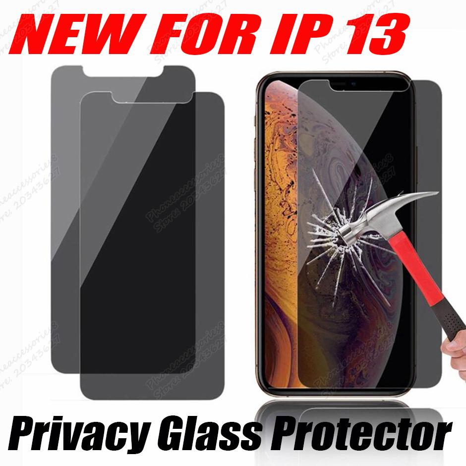 Privacidade Anti-Peeping Anti-espião 2.5D Protetor de tela de vidro temperado para iPhone 13 12 mini pro máx 11 xr xs 6 7 8 plus no saco opp