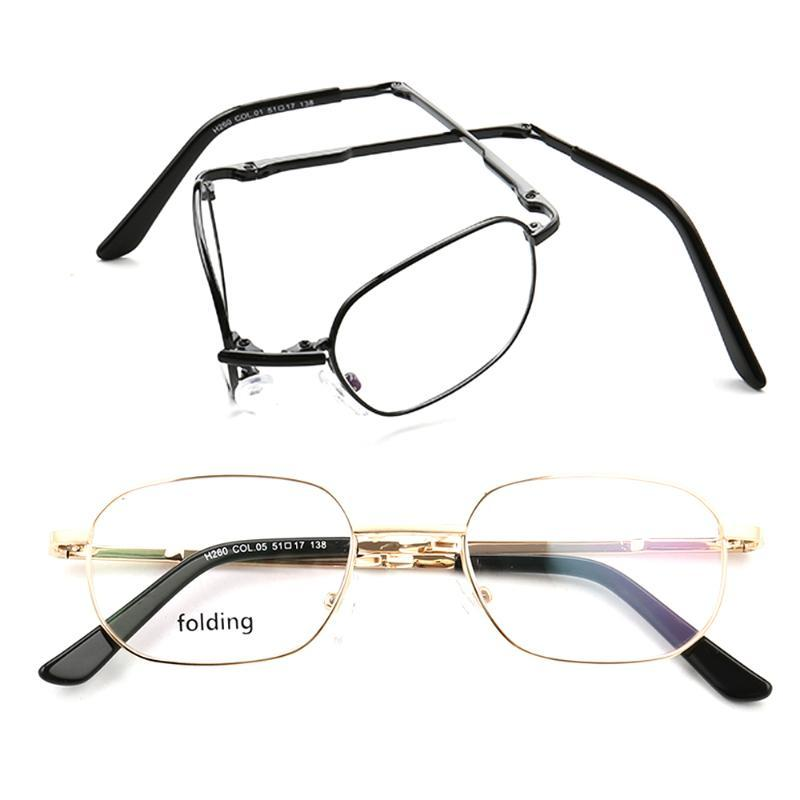أزياء نظارات شمسية إطارات النساء النظارات المعدنية المستطيلة للرجال قابلة للطي نصف حافة بدون حافة نظارات طوي الكلاسيكية ساحة فضية
