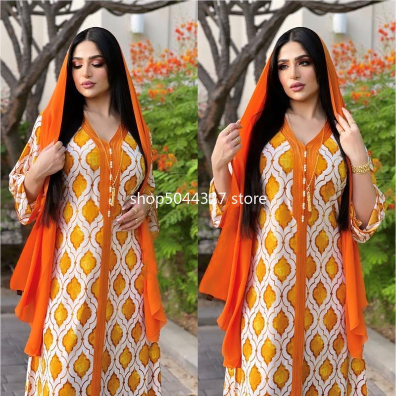 Roupas étnicas 2021 Abaya muçulmano Turquia Árabe Ramadan Laranja Robe Mulheres Jalabiya Solta Grande Tamanho Impresso Edge Vestido Longo