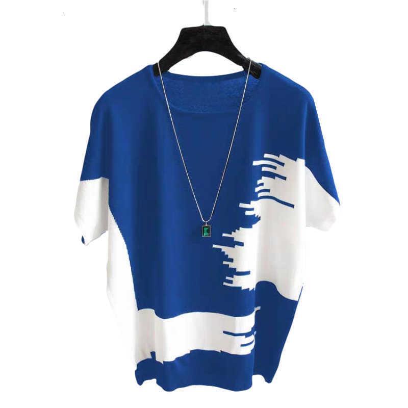 Kadın Bluz Gömlek Yaz Ince Tshirt Kadın Kore Casual O Boyun Yarasa Kollu Colorblock Örme T-shirt Gevşek Tees Ladie MRB1