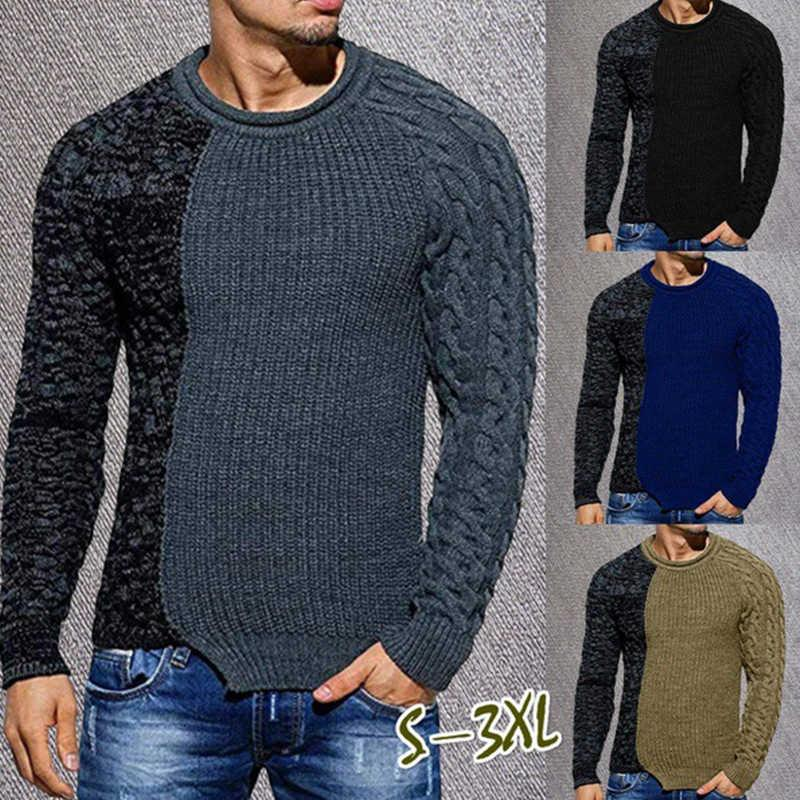 Autumn and winter 2021 Sweaters casual men's T-shirt with low crew neck