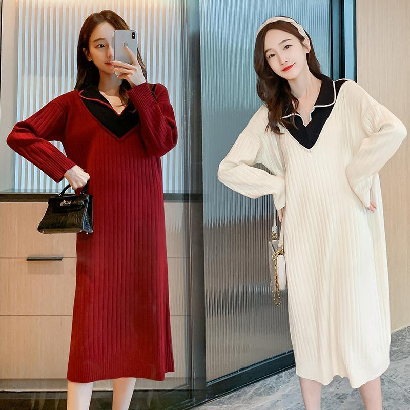 Maternity Dresses 2021 Autumn Dress Women's Lapel Knitted Thread Plus Size Clothing Pregnant