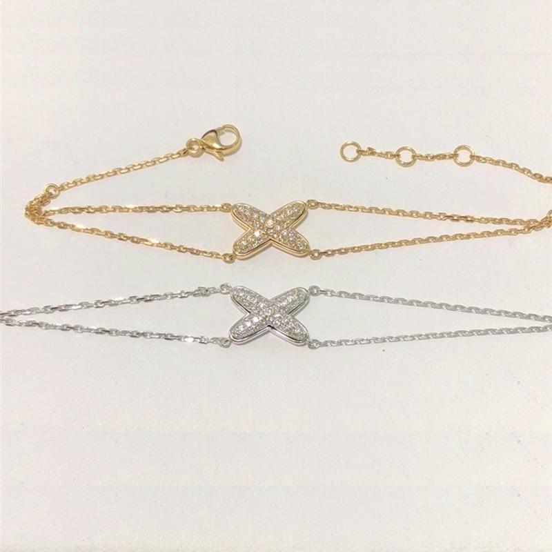 Link, Chain Charms X Bracelet High Grade CZ Cross Style Fine Double Bangle Bracelets For Women Wholesale Gifts
