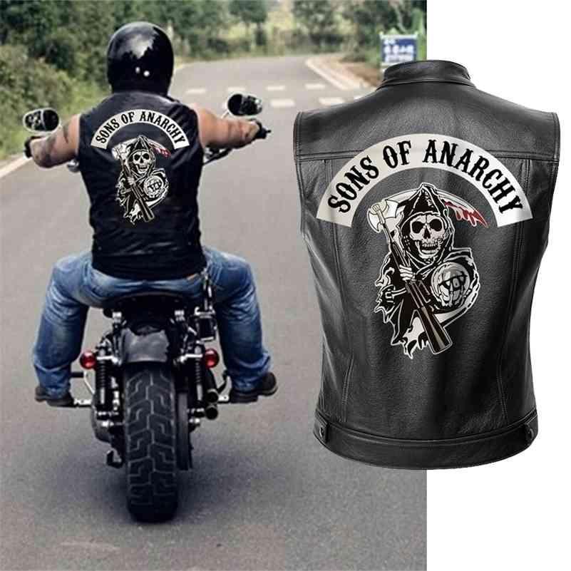 أبناء الفوضى سترة جلدية سترة الرجال دراجة نارية الربيع سترات SOA الشرير الأسود موتوراد جيليه